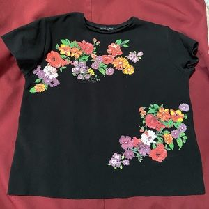 Zara Black floral embroidered top